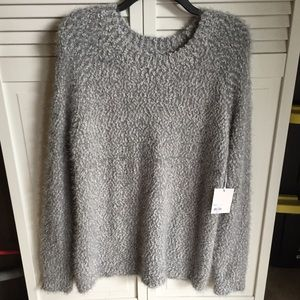 Lauren Conrad Fuzzy Soft Eyelash Gray Sweater Plus